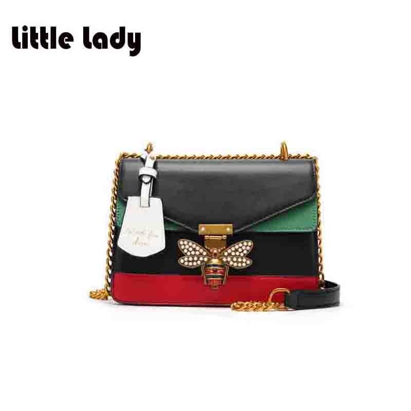 Women Little Metal bee Messenger Bags 2017 Fashion Zipper Designer Handbag Casual Shoulder Messenger Bag New Sac Bolsa Femmina<br>