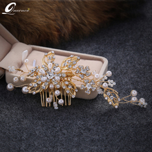 2017 Art Deco Vantage Gold Wedding Pearl Hair Comb Bridal Decorative Combs Wedding Hair Accessories Headpiece Women Headdress
