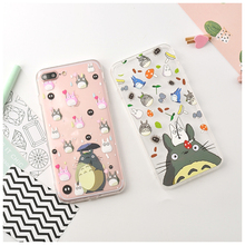 Cute Cartoon Totoro Phone Case For iPhone 7 7 Plus 6 6s Plus Clear Transparent Soft TPU Back Cover Fundas Conque