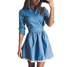 New Arrival 2017 Women Autumn Summer Casual Dress Long Sleeve Vintage Cute Lace Slim Blue Denim Mini Party Dresses Vestidos