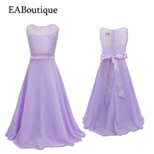 EABoutique 2017 New 8 color Fashion vestidos party dresses bow with floral chiffon girls dresses for party and wedding