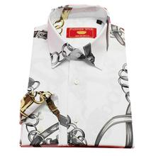white cotton with printed grey chain pattern male casual fashion shirt,man's custom tailor made bespoke MTM dress shirt , free s