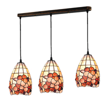 Europen Tiffany 3 Lamps Colorful Shell Stained Glass Chandelier Hanging Lamp Lighting Vintage Restaurant Living Room Fixture 586(China)