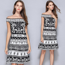 2017 Free Shipping Europe And The United States A Word Shoulder Jacquard Accept Waist Of Ice Silk Knitting Women Dress(China)