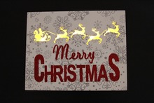 Merry Christmas glistening Wooden Frame Reindeer Silhouette LED Light Wall Vintage Christmas Decorations pendant  sign