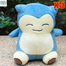 New 5pcs Snorlax Plush Soft Stuffed Animal Doll 14cm Anime Baby Dolls Bonecas Brinquedos Peluches Gift for Christmas Wholesale