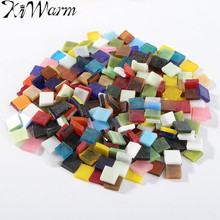 KiWarm 200g/bag 1cm Mixed Color Tumbled Stained Glass Tiles for Home Doors Candlestick Lamps Lanterns Frame DIY Craft Supplies