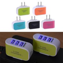 5V 3A 3 Ports USB Home Charger AC Wall Power Charger Adapter Candy Color USB Charging for Mobile Phone Tablet