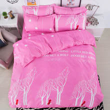 3D Bedding Sets Tree Wolf Duvet Cover Pink/Green 4pcs Fresh Bedsheet Single/Twin/Full/Queen Sizes For Kid Girls 400tc Bedclothes