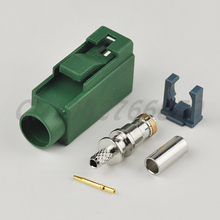 RF electrical Fakra E crimp Jack connector Green /6002 Car TV1 for RG316 RG174 LMR100 cable