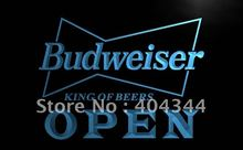 LE113- OPEN Budweiser Beer NR Pub Bar LED Neon Light Sign home decor shop crafts(China)