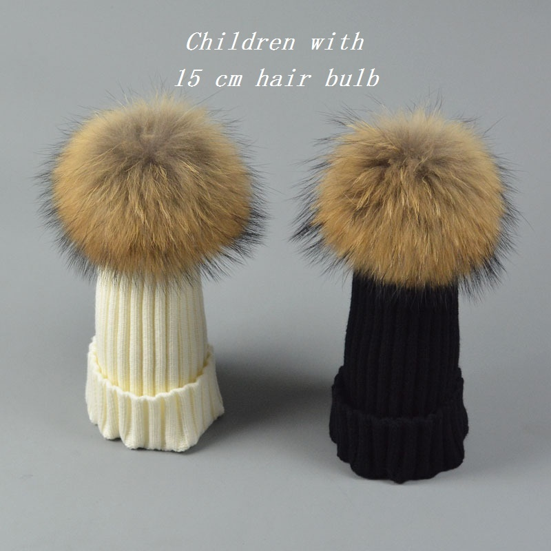 Winter Cap For Children kids pom pom hat baby 100% Real Raccoon Fur Hats Knitted Wool With Gunuine Fur Pompom ball Beanies Hat Одежда и ак�е��уары<br><br><br>Aliexpress