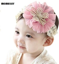 Korean New Arrival 2017 Flower Baby Hair Bands Child Headwear Kids Hair Accessory Girls Headbands White Black Pink Yellow Red(China)