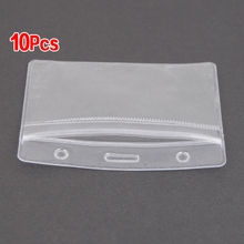 SOSW-10 x Show Clear Vertical ID Badge Card Plastic Pocket Holder Pouches 98 x 86mm(China)