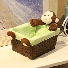 Handmade Knit Paper Rope Small Basket Woven Rattan Storage Desktop Organizer With Cotton Liner