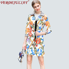High Street Ladies Fashion Trench 2018 Early Spring Flowers Print Turn down Collar 3/4 Sleeve Single Breasted Long Slim Coat(China)