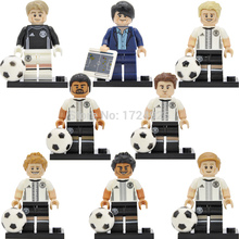 8pcs/set German Football team Figure coach Joachim Loew Andre Mario Manuel Toni Mats Building Blocks Children Toys