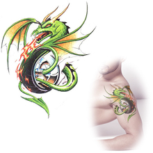 green dragon tattoos waterproof Temporary tattoo stickers totem dragonfly tattoo designs cool body spray  MQA17