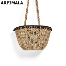 ARPIMALA 2017 Bohemian Beach Bag for Women Cute Handmade Straw Bags Summer Vacation Handbags Drawstring Basket Bag Travel Tote