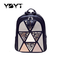 YBYT brand 2017 women preppy style rivet panelled appliques backpack  hotsale joker rucksack ladies fashion shopping travel bags