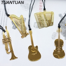 TUANTUAN Fashion Golden Color Stationery Gifts Metal Music Bookmarks Piano Guitar Trumpet Designs Book marks