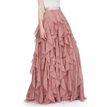 High End Blush Pink Long Skirt Custom Made Fashion Striped Ruffles Lush Chiffon Women Skirt Personalized American Apparel(China)