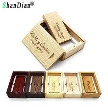 SHANDIAN (over 10 PCS free LOGO) wooden USB flash drive USB+box pendrive 8GB 16GB 32GB custom LOGO for photography wedding gift(China)