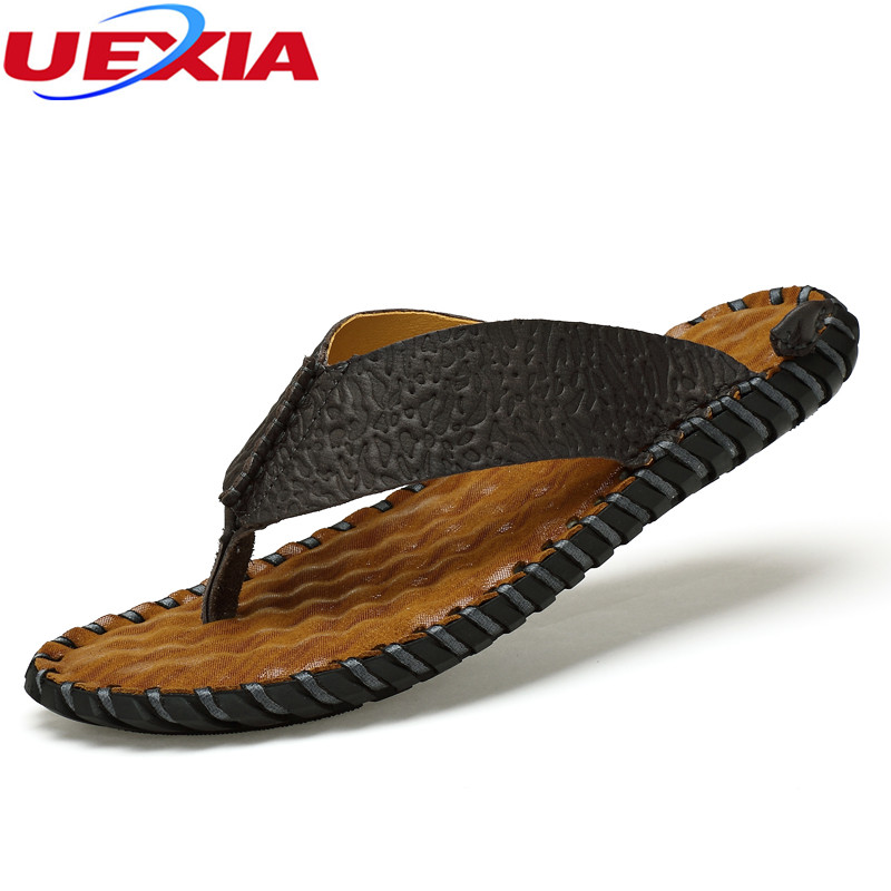 UEXIA New Summer Men Flip Flops High Beach Non-Slide Male Slippers Leather Zapatos Hombre Fashion Beach handmade sandals