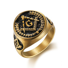 brand  Vintage Past Master Masonic Signet Rings Gold Color Titanium Stainless Steel Freemason Free Mason Ring for Men Jewelry
