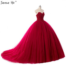 Real Picture Luxury Burgundy Crystals ball gown Wedding Dress Bridal Dress Robe De Mariee Mariage 2017 Wedding Gown(China)