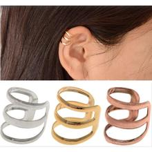 2pcs=1 Pair New Punk Rock Ear Clip Cuff Wrap Earrings No piercing-Clip on Silver Gold Bronze Women Men Party Jewelry