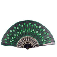 AsyPets 10Pcs/Set Elegant Colorful Embroidered Peafowls Pattern Fan Sequin Folding Handheld Hand Fan-30(China)