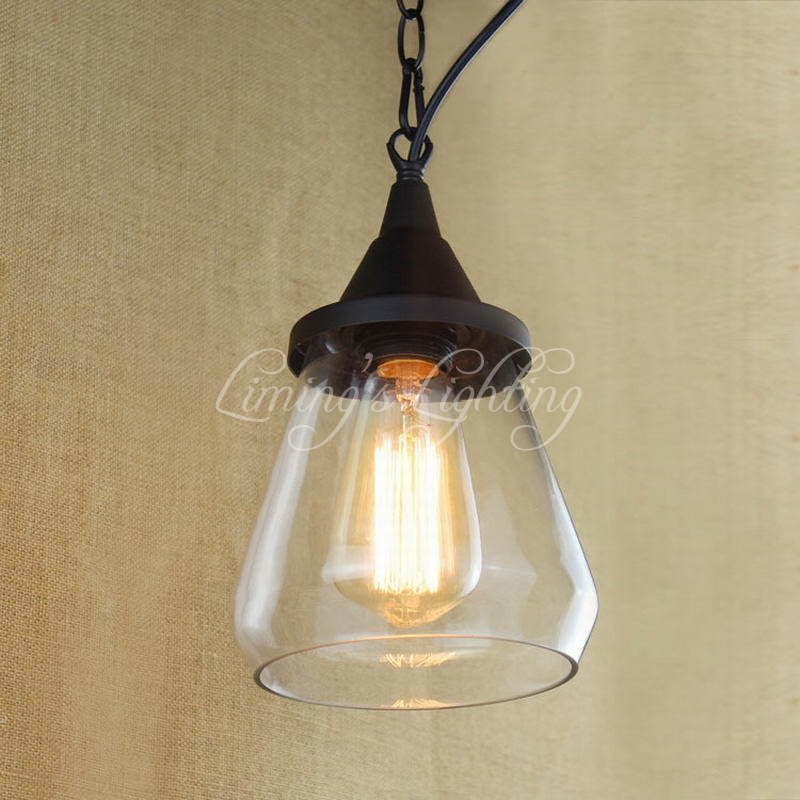 Retro Hanging Clear Glass Lampshade Cup Black E27 American Country Vintage Pendant Lamp For Bedroom Living Room Lustre Luminaire<br>
