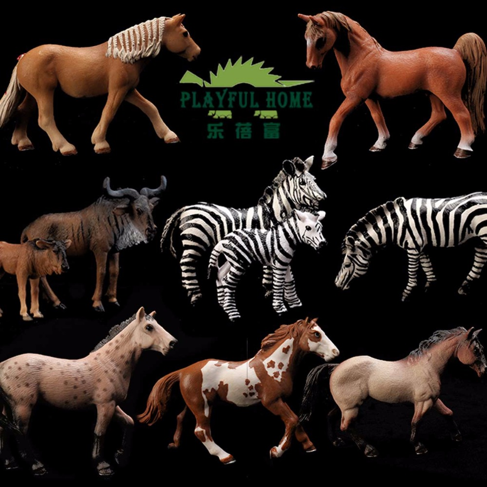PLAYFUL HOME Horses Model Animals Set Simulation 3D 10pcs Chinese Brand Quality Good Action Figures Figma Toy Kid Children Anime<br>