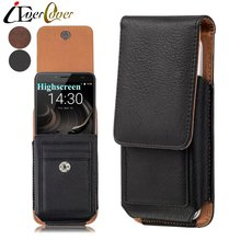 Premium Vertical Leather Case for Highscreen Razor / Razor Pro , Easy L , Power Rage EVO , Easy S Pro Phone Holster Cover Bag