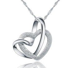 Touching The Double Heart Necklace Heart-Shaped Pendant 100% 925 Sterling Silver Pendant Necklace Nature Ross Quartz Ellipse