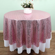 "72"" Round Pink Sequin TableCloths Table linens overlays Wedding party Table sparkly Glitz decoration(China)"
