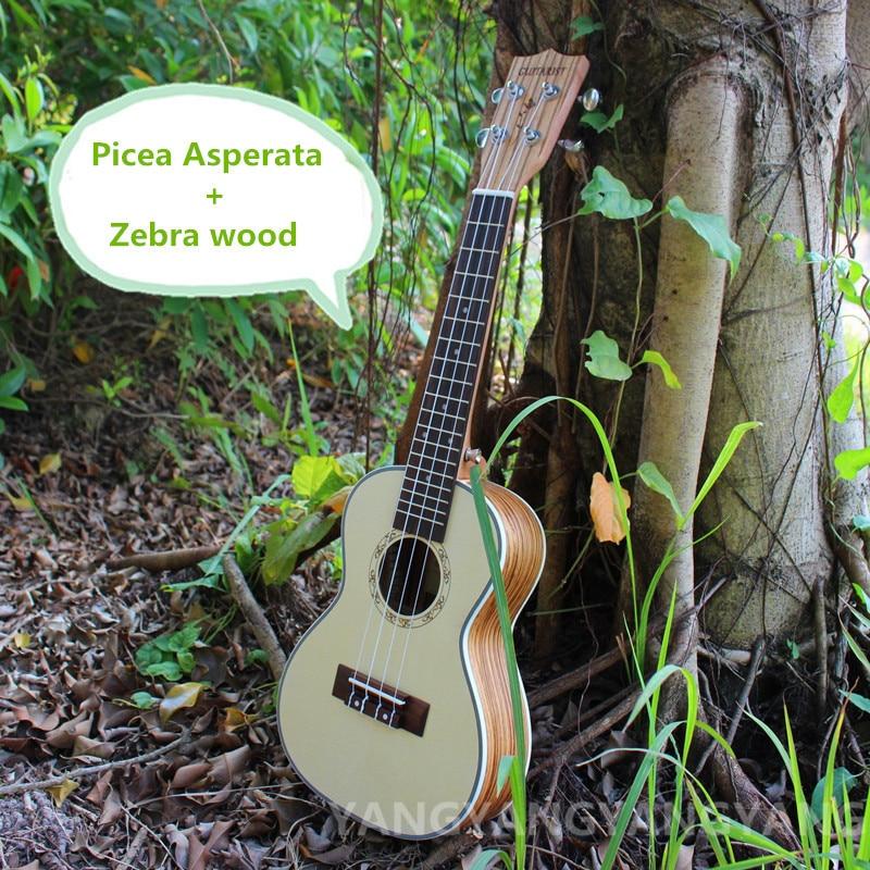 Soprano Concert Tenor Ukulele 21 23 26 Inch Mini 4Strings Guitar Ukelele Guitarra Handcraft Picea Asperata Zebra Wood Uke White<br>