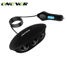 Onever 120W 3 Ports Car Cigarette Lighter Socket Splitter Power Adapter With Dual USB Charger 5V 2.1A For All Smartphone DVR GPS