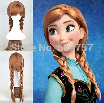 Snow Queen Princess Anna length Cosplay Braid Adult Hair Wig Cosplay Anime 100% fibre no Front Wigs Free deliver<br><br>Aliexpress