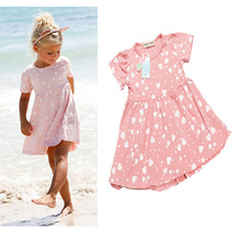 hot sales fashion style baby girl summer dress with short sleeves and heart print cute girl wear free shipping(China)