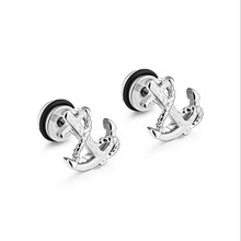 Europe and the United States Retro Boat An earrings wave of men and women titanium steel jewelry new accessories