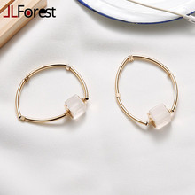 JLForest Natural White Crystal Ice Cubes Bangles Women Gold Color Metal Bangles Rock Quartz Stone Bracelets Lady Fashion Jewelry