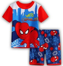 NEW Spiderman Batman Superman Kids Clothes Baby Boys Shorts Sleeve Cotton Pajamas Childrens Sleepwear Pyjamas Sets Girls pajamas