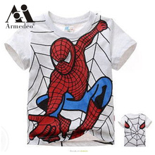2017 boy's t shirt popular hero cotton short-sleeved t-shirt printing children's cartoon gray kids boys child's clothes