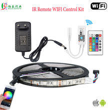 LED WIFI RGB Strip Waterproof Rope Light RGB WIFI LED Controller 24Key Remote 5M 5050 2835 Warm White Blue Red Fita 12V Adapter(China)