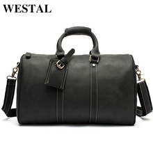 WESTAL Men Travel Bag Men Bags Genuine Leather Handbags Totes Men Luggage Travel Duffle Bag Leather Shoulder Bags Suitcase