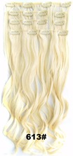"QQXCAIW Long Curly 16 Clips 24"" Blonde Black Brown Wine Red 32 Color Synthetic Hair Clip in Hair Extensions"