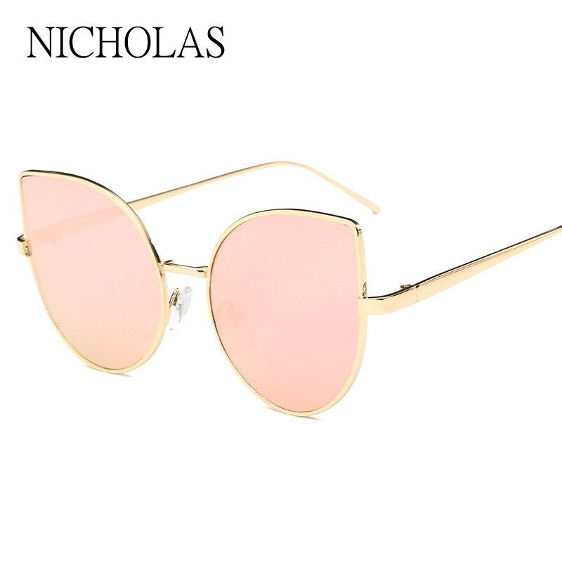 2017 Cat eye Sunglasses Women Brand Designer Female Flat Rose Gold Mirror Sun glasses Ladies Eyewear Oculos De Sol Feminino <br><br>Aliexpress