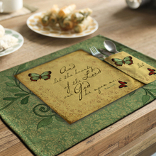 yazi 4PCS Country Style Butterfly Placemats Cotton Linen Heat Insulation Wedding Party Dining Table Mats